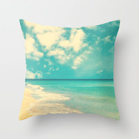 Waves of the sea (retro beach and blue sky) Throw Pillow by Andrea Caroline