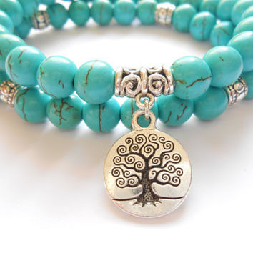 Tree of Life jewelry Yoga Mala Bracelet Turquoise Healing Protection Elastic Beaded Stacking Bracelet Spiritual jewelry Mother's Day gift