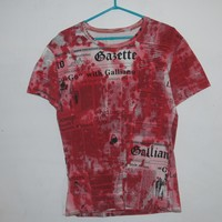 john galliano news paper print blood splatter t shirt L