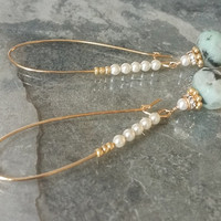 Kiwi Jasper Pearl and Crystal Gold Hoop Earrings, Pearl Earrings, Pearl Hoops, Jasper Hoops, Jasper Earrings, Gold Hoop Earrings