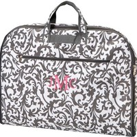 Monogrammed Grey and White Damask Print Garment Bag