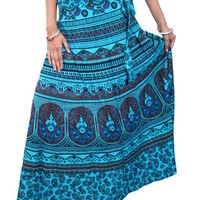 Wrap Skirts - Blue Printed Cotton Long Wrap Around Maxi Dress Boho Beach Dress