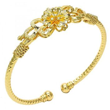Gold Layered 07.311.0003 Individual Bangle, Flower Design, Diamond Cutting Finish, Golden Tone (03 MM Thickness, One size fits all)