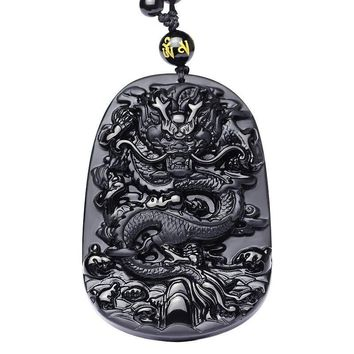 Drop Shipping Unique Natural Black Obsidian Carving Dragon Lucky Amulet Pendant Necklace For Women Men pendants Jewelry