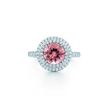 Tiffany & Co. - Tiffany Soleste® ring in platinum with a pink tourmaline and diamonds.