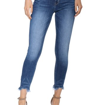 Flying Monkey Uneven Fray Hem Skinny Jeans