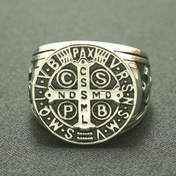 CSPB CSSML NDSMD Unisex 316L Stainless Steel Catholic Church Saint Benedict of Nursia Christianity Jesus Exorcism Ring