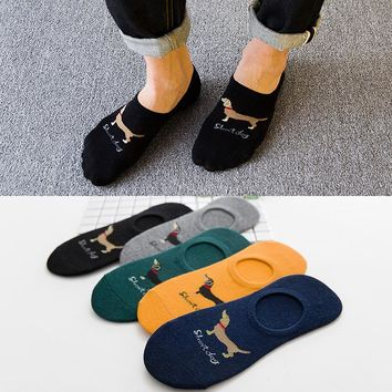 5color spring summer men women cotton Man Socks dog Male Low Cut Ankle Sock boy boat casual slippers 1pair=2pcs WS112