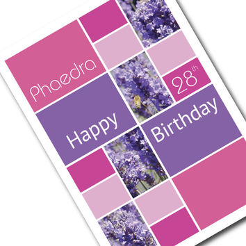 Female Happy Birthday card & envelope, personalized NAME AGE, lavender purple pink Mondrian influenced, birthday card for girl - bth041