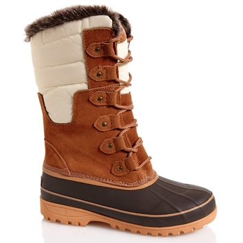 Womens Comfort Duck Boots with Faux Fur Trim 545792661