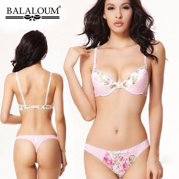 f02af7a07d Sexy Lingerie Push Up Women Bra Set Flower Dots Patchwork Cute J