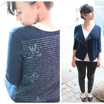 $42.00 Blue jersey cardigan with Swallows and by Julbyjuliagasin