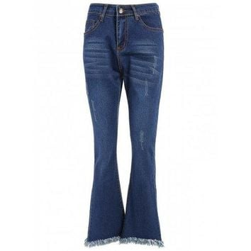 High Waisted Fringed Bell-Bottom Jeans - Blue 30