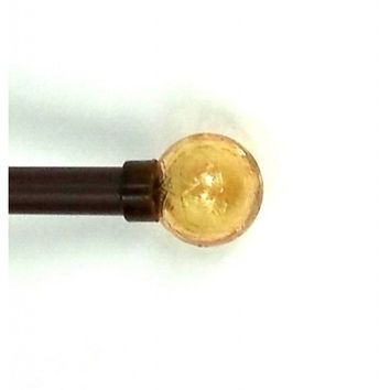 Adjustable Brown Curtain Rod With Gold Crystal Finials
