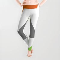 White Orange Yellow Green Pattern Leggings, X-Small,Small,Medium,Large,X-Large,Polyester,Spandex,Antimicrobial,Designer,Pattern,Yoga,Jogging