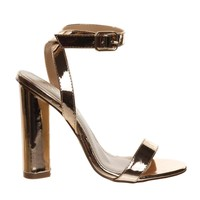 Olov2 Rose Gold Chunky Block Heel High Heel Open Toe Stilettos, Women Ankle Strap Sandal