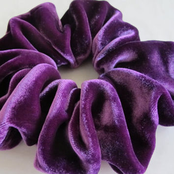 Free shipping silk hair scrunchie. Hypoallergenic hair accessories. Violet silk velvet hair scrunchie. Purple velvet scrunchie.