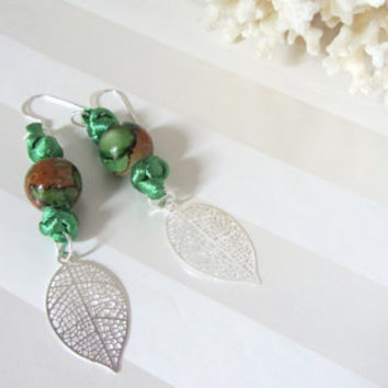 Earthy Earrings Green and Brown Bead Hand Tied Chinese Celtic Button Knots and Silver Veined Leaf Dangles Woodland Boho Style