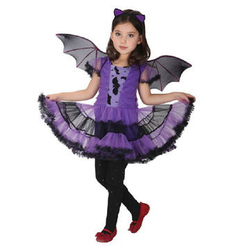 Sweet Purple Batman Cosplay Girls Halloween Costume for Kids Fancy Dress