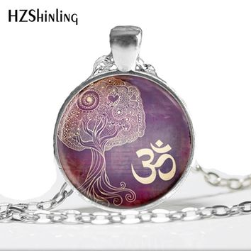 Glass Dome Necklace Tree Of Life Necklace Yoga Jewelry Om, Aum, Zen, Meditation, Buddhism, Purple Art Pendant Om Necklace HZ1