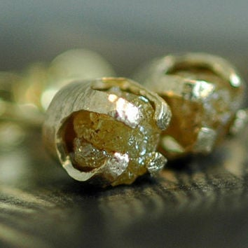 Champagne Yellow Rough Diamonds in 14k Yellow Gold by Specimental