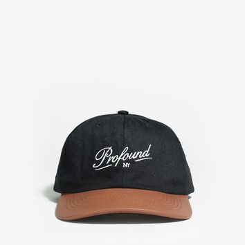 Leather Brim Six Panel Hat in Black