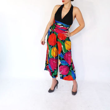 Vintage 1980s Jumpsuit One Piece Pantsuit Black Tropical Floral Romper Size Small Hipster 80s Summer Beach Jumper Glam Tacky One Piece