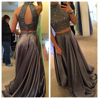 Two Piece Beading Grey Prom Dresses