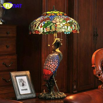 Dragonflys and Cranes. Stained Glass Dragonfly Shade and Wonderful Crane BaseTable Lamp, High Quality Tiffany Style Table Lamp
