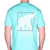 Red White Elephant Pocket Tee in Lagoon by Southern Fried Cotton