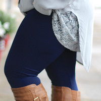 Navy Fleece Lined Leggings {Curvy}
