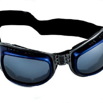 Silver and Blue Frame Motorcycle Goggles Protective Sport Sunglasses