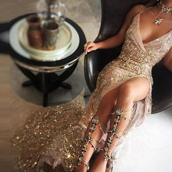 2017 Women Sexy Gold Sequined Long Split Dresses Elegant Ladies Night Club Cocktail Party Dress Femme Maxi Vestidos De Festa