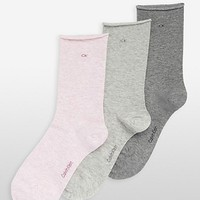3-pack combed cotton rolled cuff crew socks | Underwear | Calvin Klein