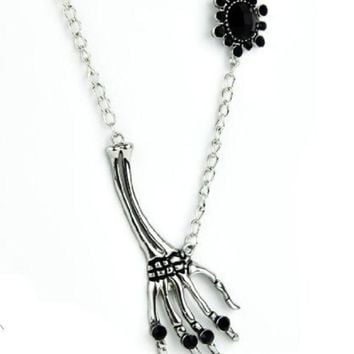 ac spbest Skeleton Hand with Black Stone Necklace