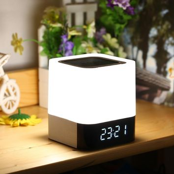 Portable Wireless Bluetooth Speaker With Touch Sensor Led Lamp Light Alarm Clock TF Card AUX MP3 Player Hands-free Loudspeakers