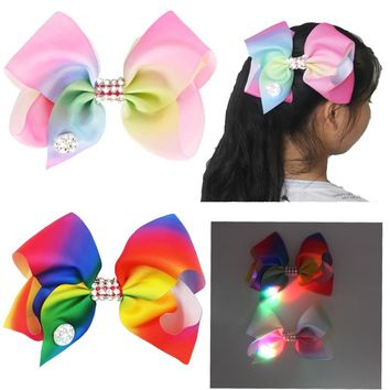 2 Colors Girls Mix Color Diamante Big Fashion Hair Bow Dance Party School Accessory With Led Light Glow in Dark