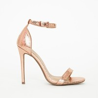 Missguided - Barely There Ankle Strap Sandal Rose Gold Metalic
