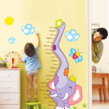 New Elephants Height Wall Art Stickers Kids Nursery Removable Decor Decals Home Mural Chart Measure with baby sticker wall decal