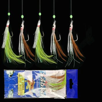 Fishing String Hook Chicken Feather Maruseigo Hooks Octopus Glow Blacking Bead 1/0#