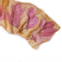 Magnolia silk scarf hand painted Yellow pink scarf shawl Handpainted scarves Silk Chiffon Scarf/ Holidays gift women ooak/ Made to Order