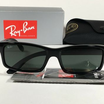 69c4d33916ce3 Ray-Ban Active Rectangle Sunglasses Black Gloss Nylon Frame Gree