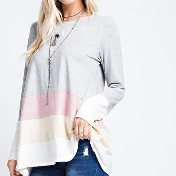 Color Block Tunic Top - Grey