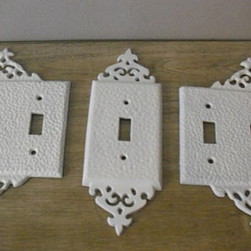3 white wrought iron ornate light switch from mamalisascottage on - Wrought iron switch plate covers ...