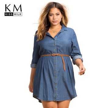 kissmilk Plus Size Fashion Women Dress Casual Loose Dress Long Sleeve Big Size Female Clothing Large Size Lady Dress 3XL-6XL