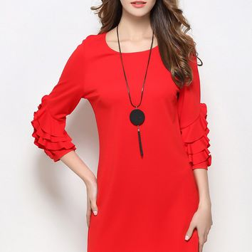 Butterfly Sleeve A Line Dress
