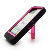 Aimo Wireless IPH5PCMX005S Guerilla Armor Hybrid Case with Kickstand for iPhone 5 - Retail Packaging - Black/Hot Pink