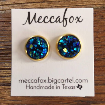 Mecca Fox Earrings- 10MM Blue Druzy in Gold Setting