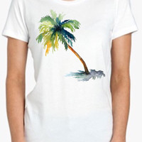 Palm Tree Tshirt Screenprinted Apparel Brandy Melville Inspired Design Clothing Unisex Adults Women Tees
