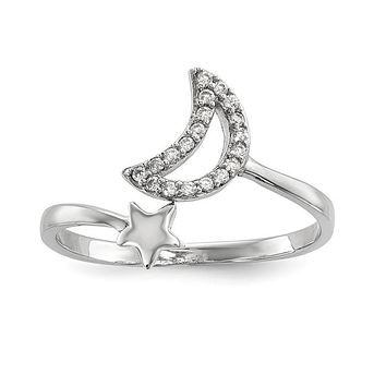 Sterling Silver CZ Moon And Star Ring